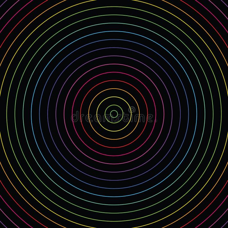 Abstrakt färgrik bakgrund för modell för inre kretsar för neonljus royaltyfri illustrationer
