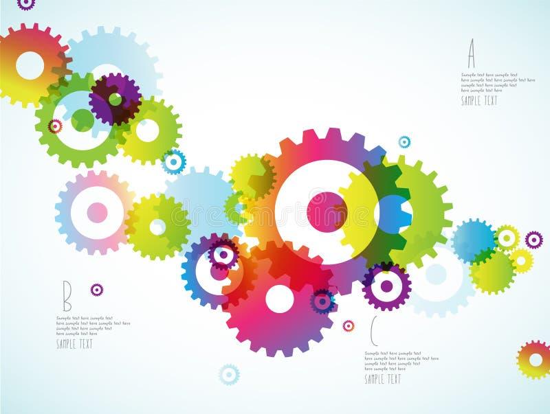 Abstrakt färgrik bakgrund för tandade hjul vektor illustrationer