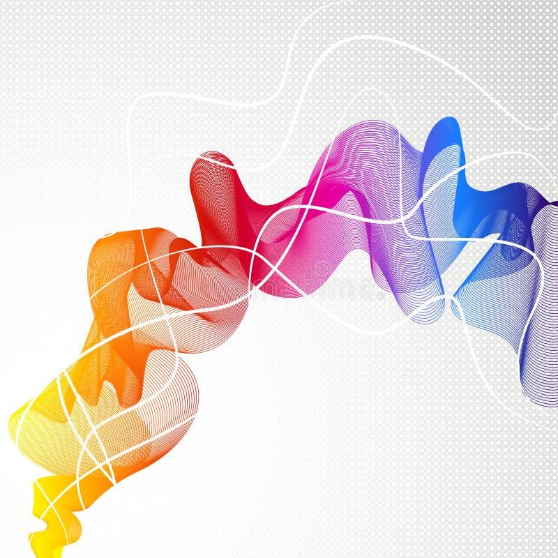 Abstrakt färgrik bakgrund med vågen av linjer royaltyfri illustrationer