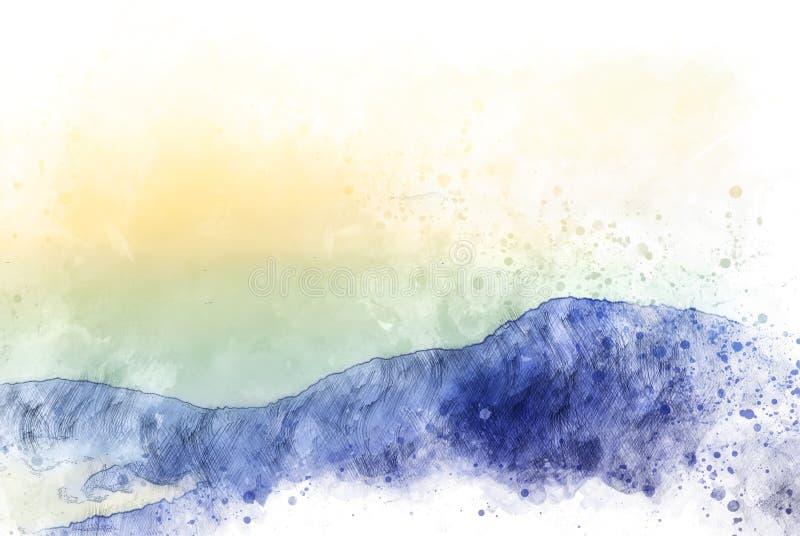 Abstrakt färgrik bergkulle i Thailand på vattenfärgillustrationmålning stock illustrationer
