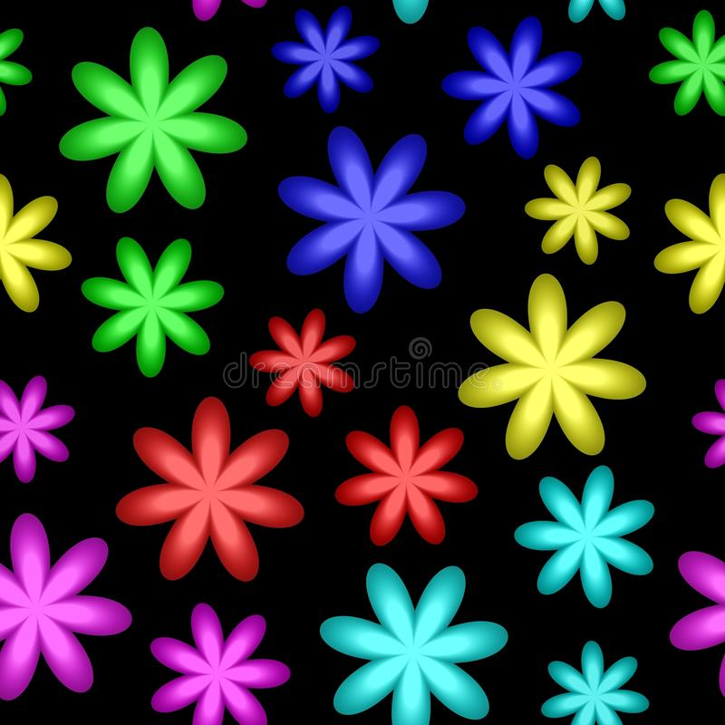 Abstrakt färgrik blom- modell Flerfärgade blommor Blom i regnbågefärger vägg för textur för bakgrundstegelsten gammal seamless il vektor illustrationer