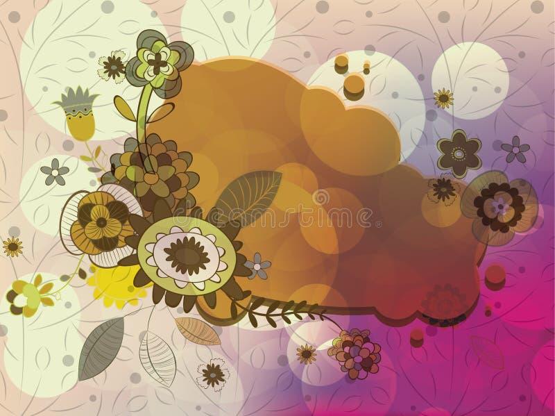 abstrakt färgrik blom- ram stock illustrationer