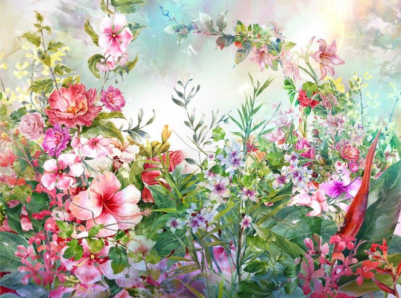 Abstrakt färgrik blommavattenfärgmålning Mångfärgad vår stock illustrationer