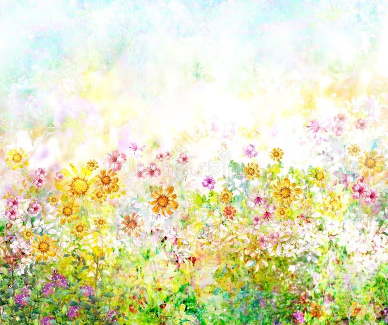 Abstrakt färgrik blommavattenfärgmålning Vår royaltyfri illustrationer