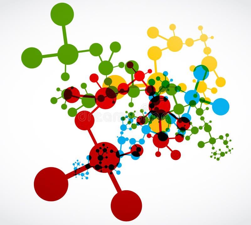 Abstrakt färgrik dna-molekyldesign vektor illustrationer