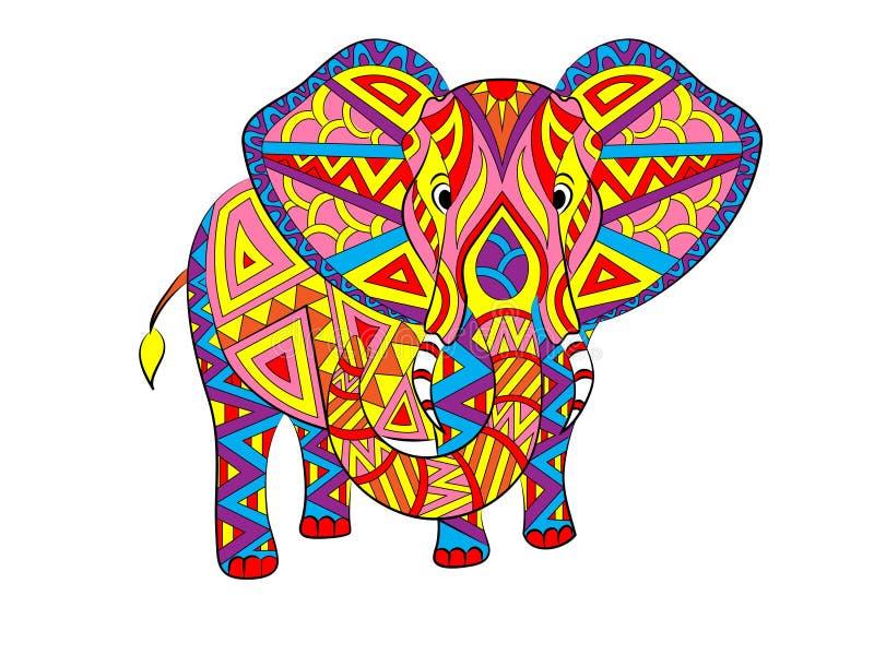 Abstrakt färgrik elefantillustration för vektor vektor illustrationer