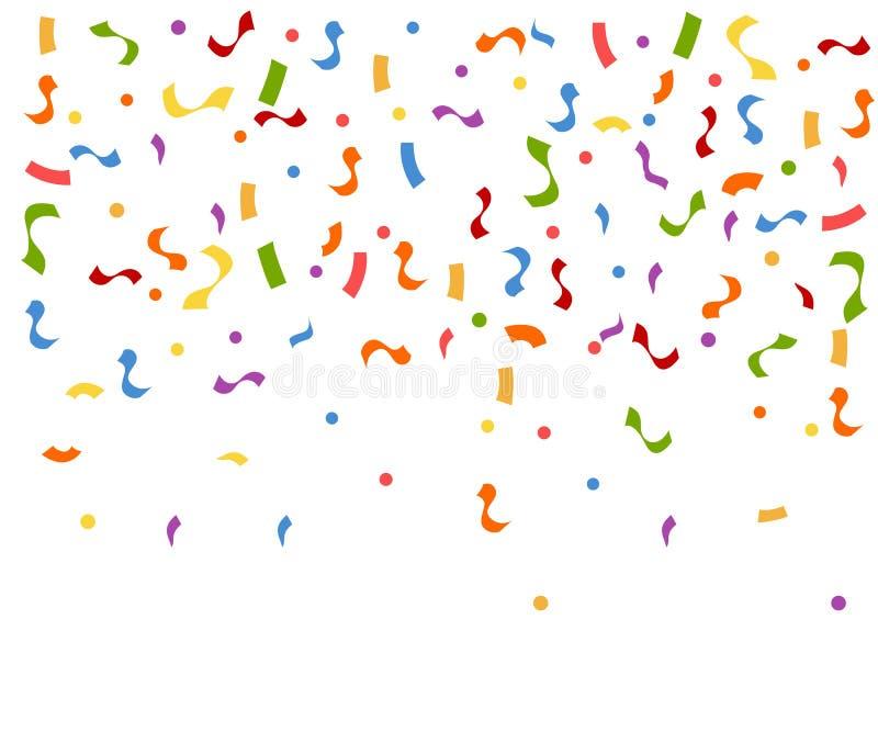 Abstrakt färgrik explosion av konfettier Konfettier som ner faller Plan vektorillustration på vit bakgrund royaltyfri illustrationer