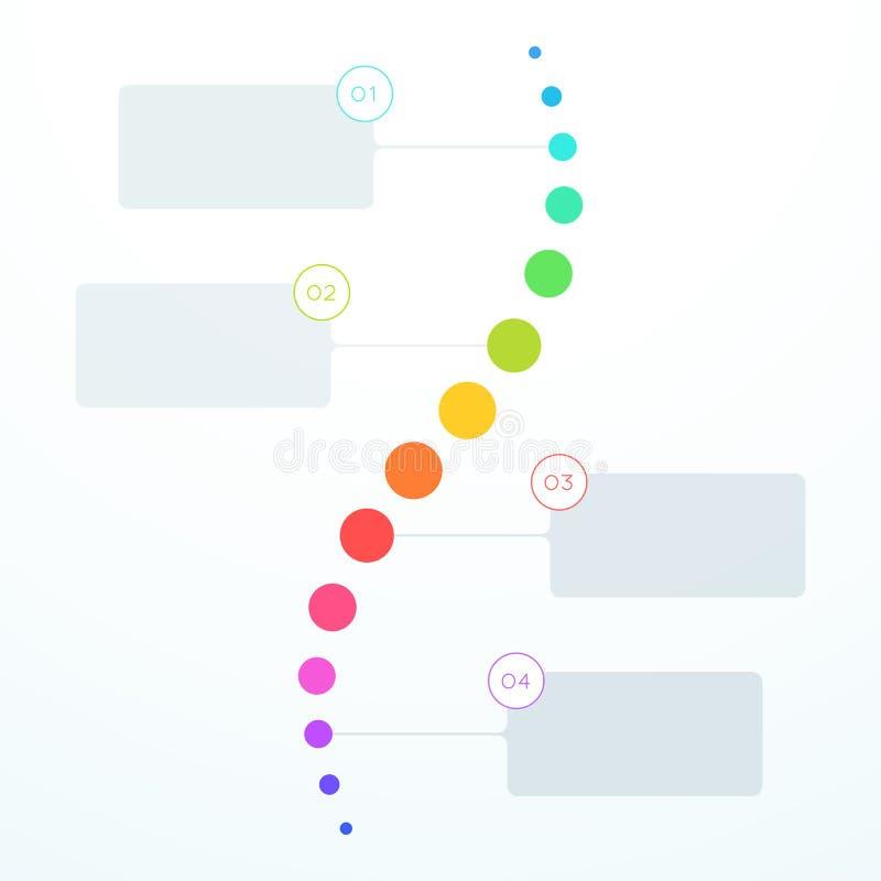 Abstrakt färgrik för momentcirklar för lägenhet 4 Timeline för lodlinje vektor illustrationer