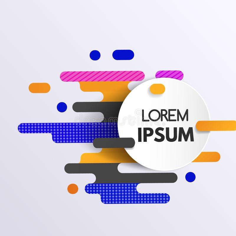 Abstrakt färgrik geometrisk modell med dynamiska former och cirkelbanret stock illustrationer