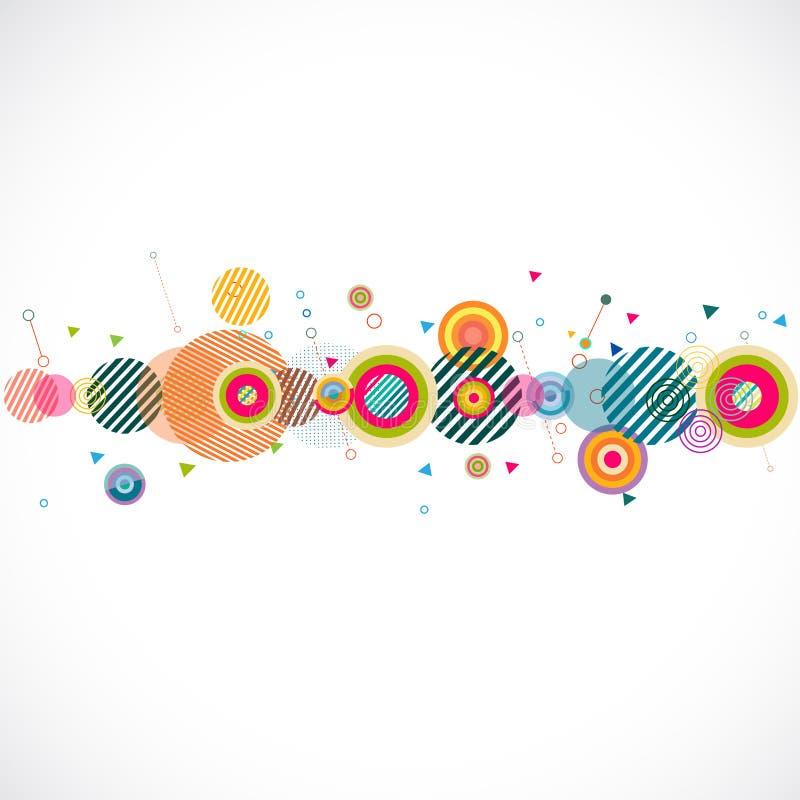 Abstrakt färgrik geometrisk remsa med idérik cirkelform och diagramgarnering stock illustrationer