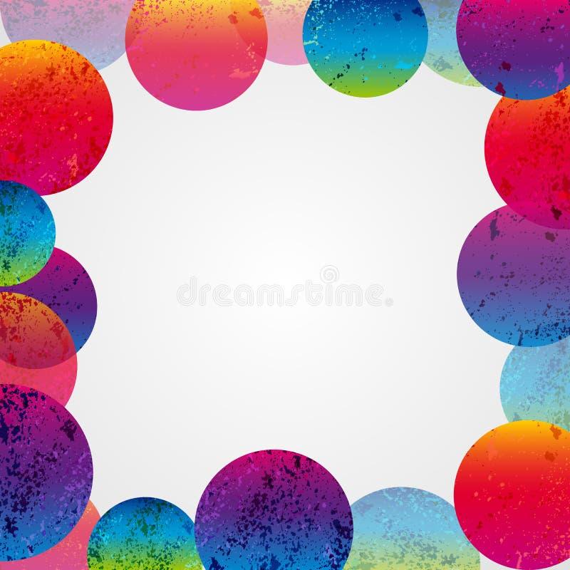 Abstrakt färgrik grungecirkelram på en vit bakgrund royaltyfri foto