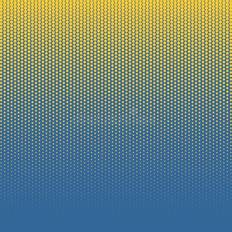 Abstrakt färgrik halvton, minimalistic bakgrund från prickar Komisk stilbakgrund, konst-retro rastrerad pop för lutning royaltyfri illustrationer
