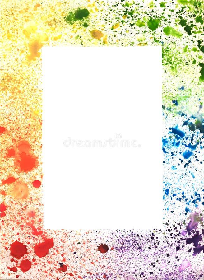 Abstrakt färgrik hand dragen ram av vattenfärgfärgstänk royaltyfri illustrationer
