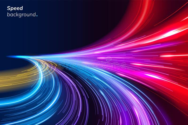 Abstrakt färgrik hastighetsbakgrund med linjer royaltyfri illustrationer