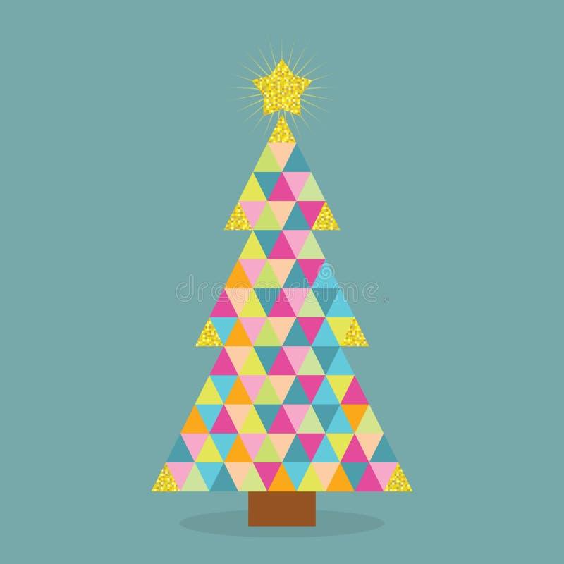 Abstrakt färgrik julgran för triangeltegelplattamodell med den guld- stjärnaöverkanten på blå bakgrund stock illustrationer