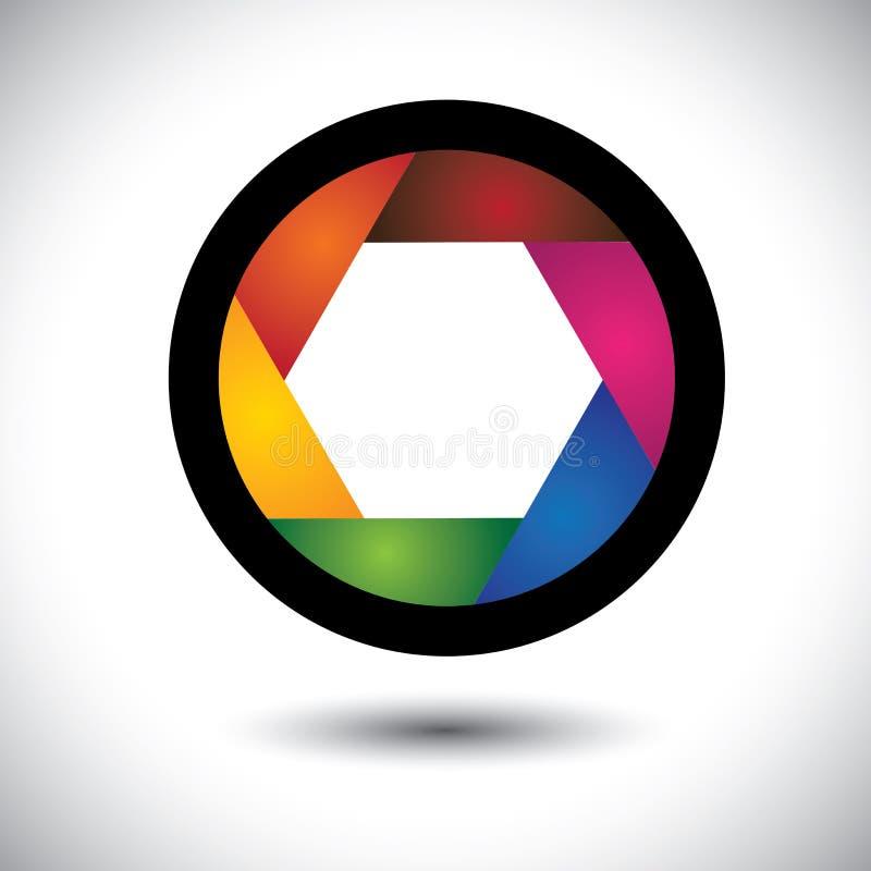 Abstrakt färgrik kameraslutare (öppning) med blad royaltyfri illustrationer