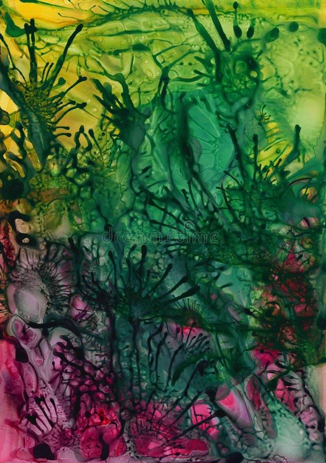 Abstrakt färgrik kosmisk bakgrund för vattenfärgakryltextur royaltyfri illustrationer