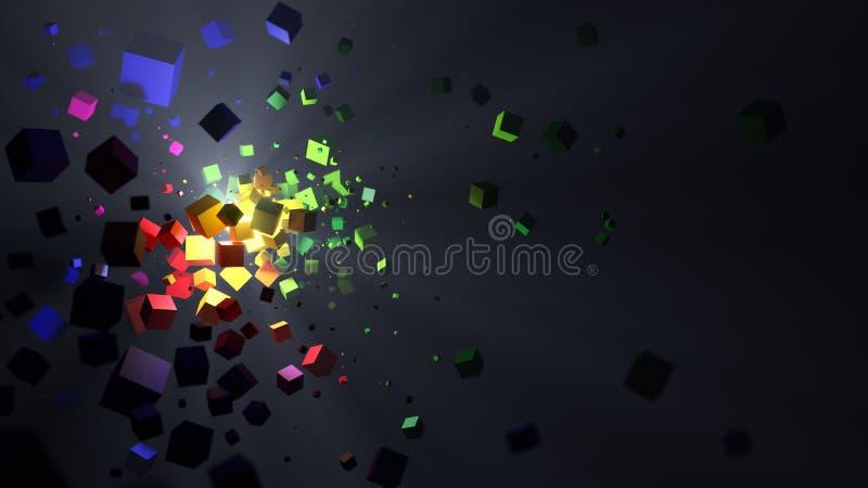 Abstrakt färgrik kubexplosionbakgrund vektor illustrationer