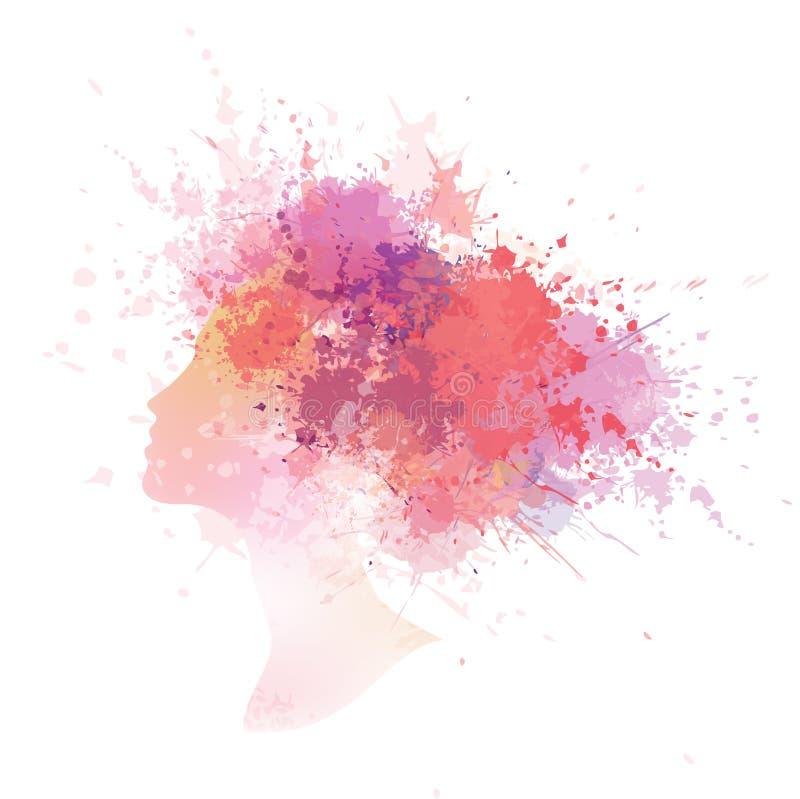 Abstrakt färgrik kvinnastående för vektor vektor illustrationer