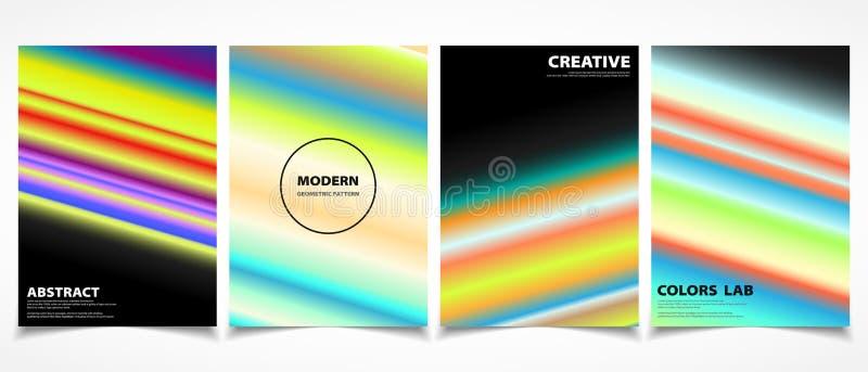 Abstrakt färgrik linje moderiktig uppsättning för broschyrräkningsmall Illustrationvektor eps10 vektor illustrationer