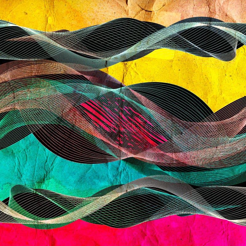 Abstrakt färgrik linje vågillustration vektor illustrationer