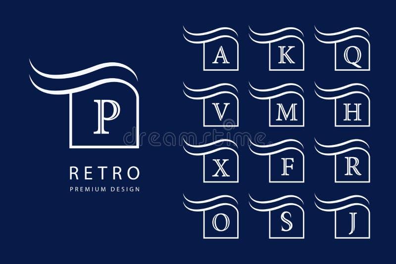 abstrakt färgrik logo för designdiagramillustration Moderna emblem Uppsättning av monogram med versalar Fläck av skillnad Minimum stock illustrationer