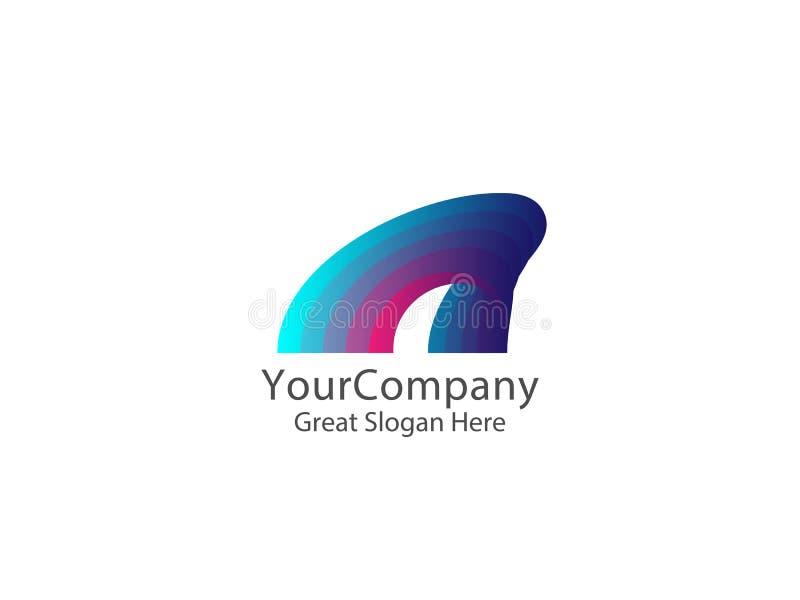 Abstrakt färgrik logo för vattenvåg för affärsföretag hav n stock illustrationer