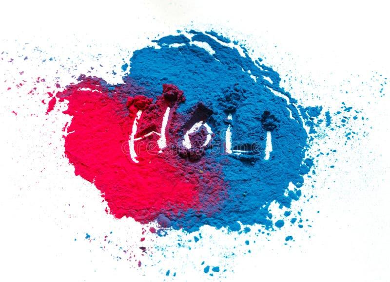 Abstrakt färgrik lycklig Holi bakgrund Färga vibrerande pulver som isoleras på vit Damma av kulör färgstänktextur Lägenheten lägg royaltyfria foton