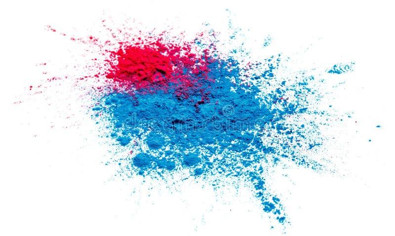 Abstrakt färgrik lycklig Holi bakgrund Färga vibrerande pulver som isoleras på vit Damma av kulör färgstänktextur Lekmanna- lägen arkivfoto