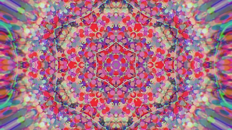 Abstrakt färgrik målad kalejdoskopisk grafisk bakgrund Futuristisk psykedelisk hypnotisk bakgrundmodell med textur royaltyfri fotografi