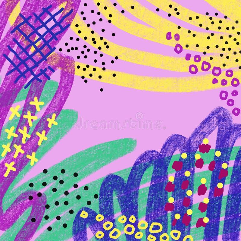 Abstrakt färgrik målarfärgborste och att klottra linjer för att texturera bakgrund, slaglängder, memphis stil Id?rik klottercolla stock illustrationer