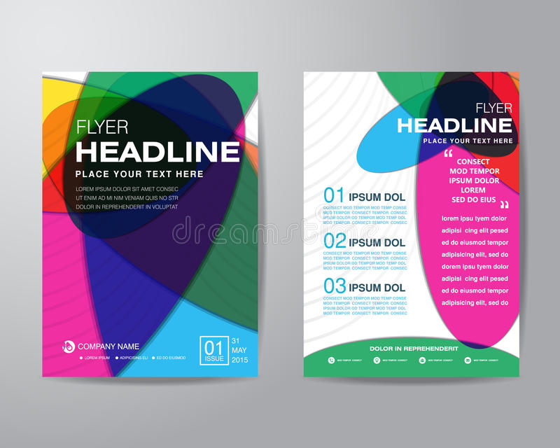 Abstrakt färgrik mall för orientering för broschyrreklambladdesign i si A4 royaltyfri illustrationer