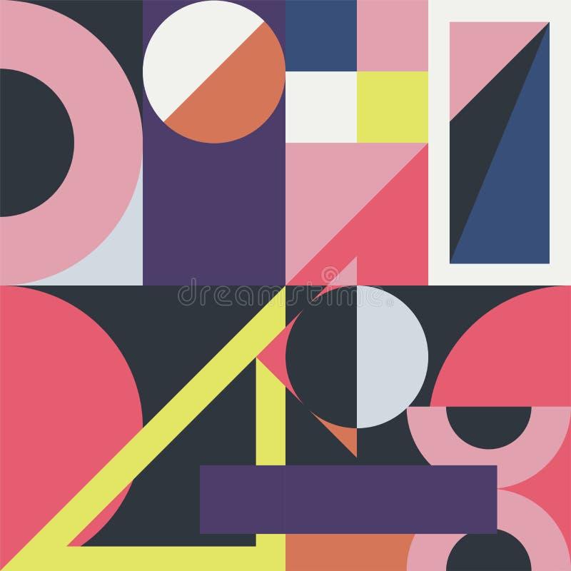 Abstrakt f?rgrik moderiktig bakgrund med moderna geometriska former Dekorativ s?ml?s modell - modestil 80s-90s vektor illustrationer