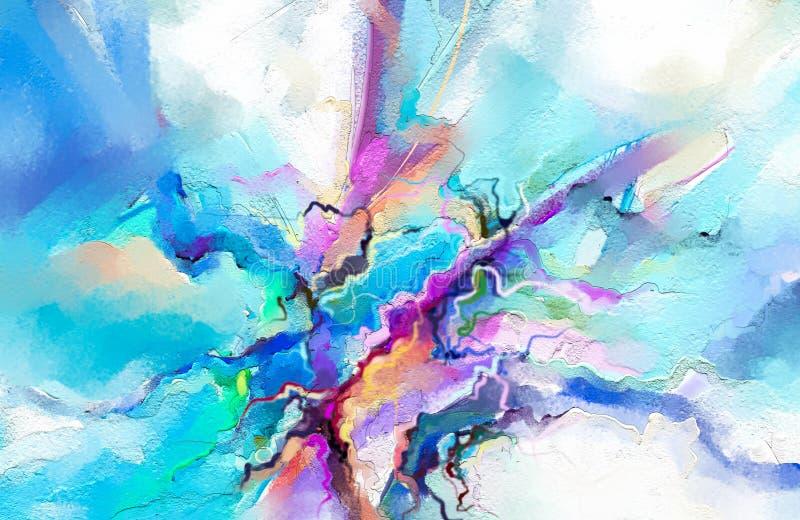 Abstrakt färgrik olje- målning på kanfastextur Abstrakt samtida konst för bakgrund vektor illustrationer