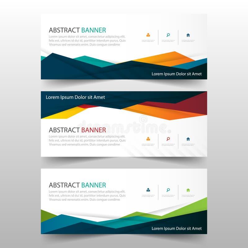 Abstrakt färgrik polygonal banermall, horisontaluppsättning för design för lägenhet för mall för orientering för baner för advert vektor illustrationer