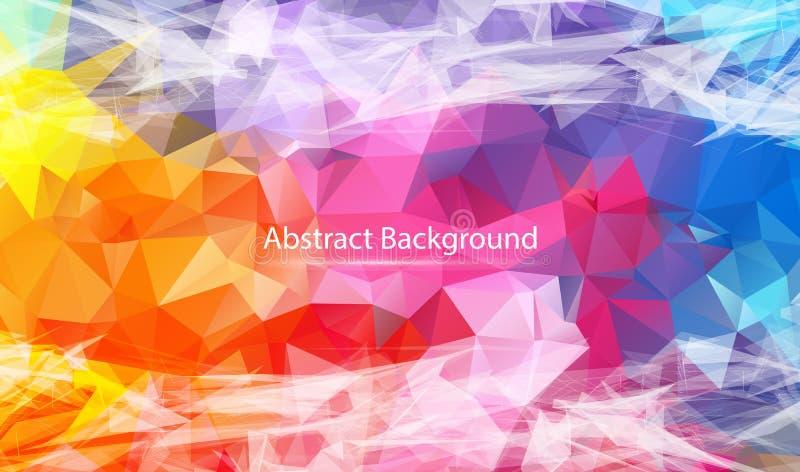 Abstrakt färgrik polygonal yttersidabakgrund Låg poly ingreppsdesign med den förbindande pricken och linjen Anslutningstriangelst stock illustrationer