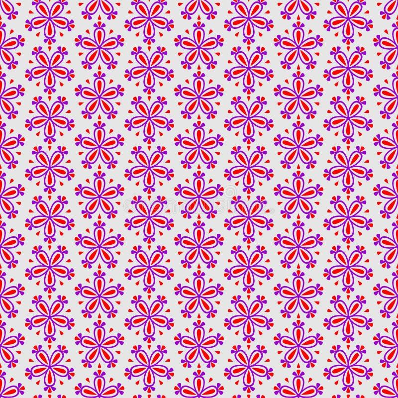 Abstrakt färgrik sömlös blom- vektormodell med rosa blommor på grå bakgrund stock illustrationer