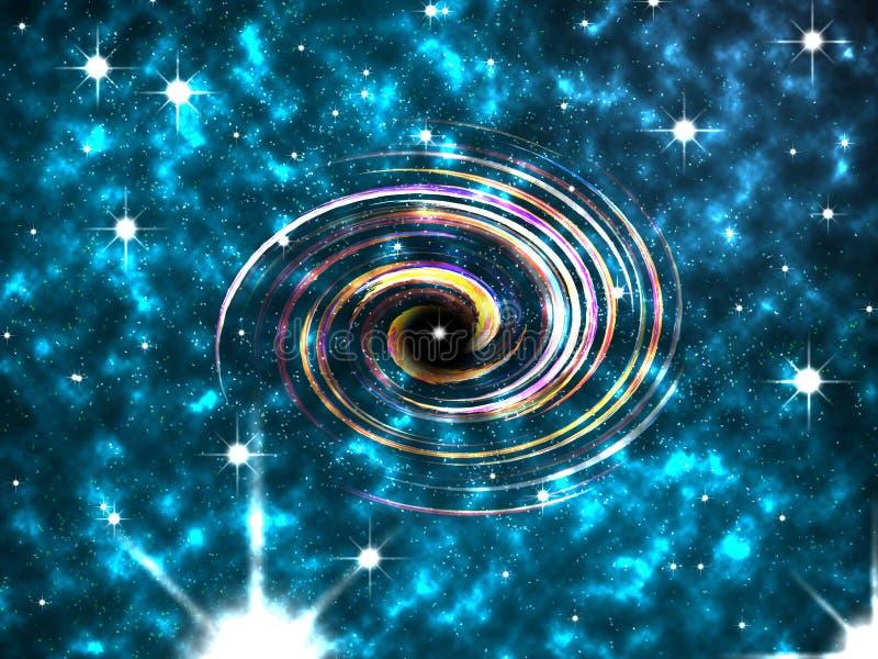 Abstrakt färgrik spiral, nebulosa, stjärnor fotografering för bildbyråer