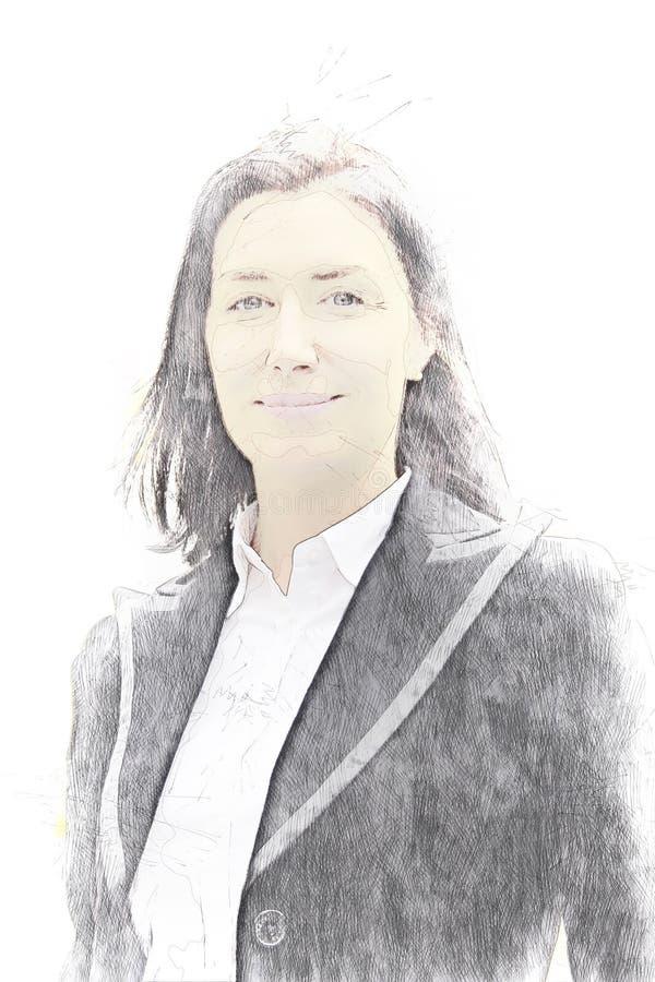 Abstrakt färgrik stående för affärskvinna på vattenfärgillustrationmålning royaltyfria bilder