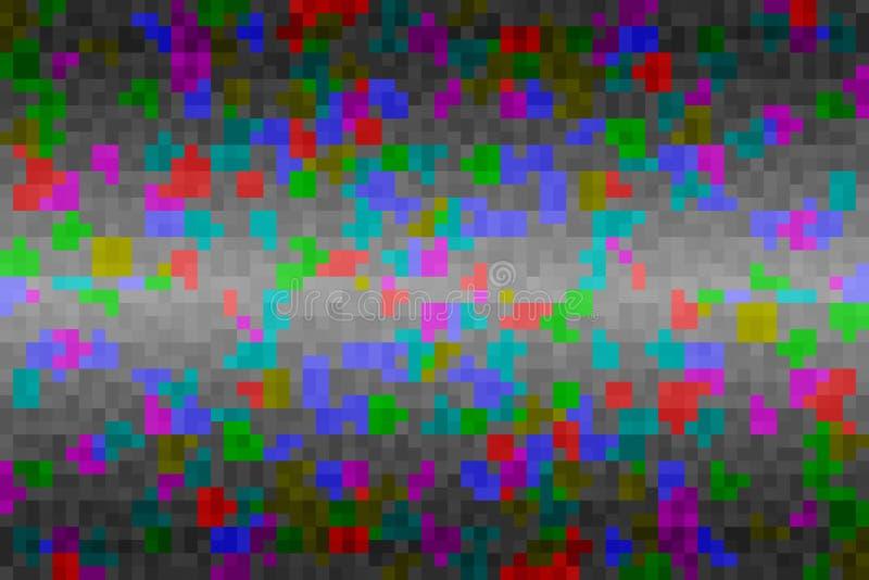 Abstrakt färgrik tekniskt fellutningbakgrund Textur med fyrkantiga kvarter f?r PIXEL Mosaisk tetrismodell vektor illustrationer
