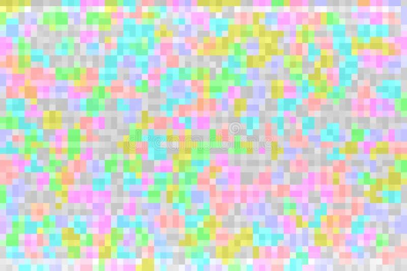 Abstrakt färgrik tekniskt fellutningbakgrund Textur med fyrkantiga kvarter f?r PIXEL Mosaisk tetrismodell royaltyfri illustrationer