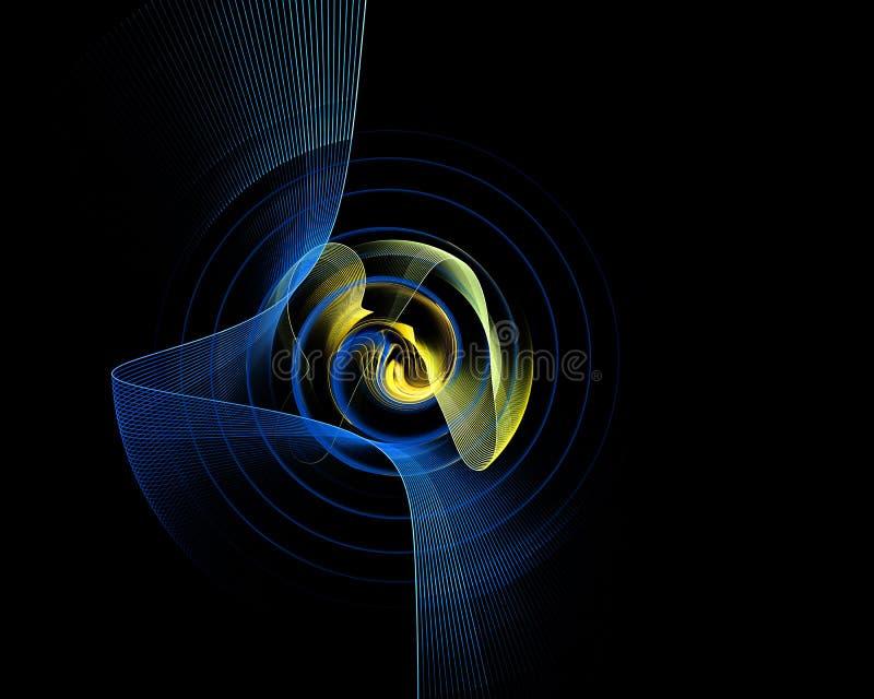 Abstrakt färgrik teknologi eller vetenskaplig bakgrund, dator-frambragd bild Fractalbakgrund med techstilrundan och strålar vektor illustrationer