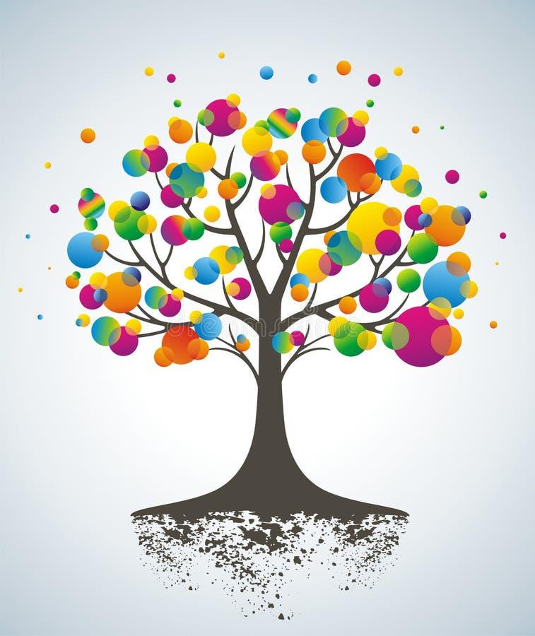 abstrakt färgrik tree stock illustrationer