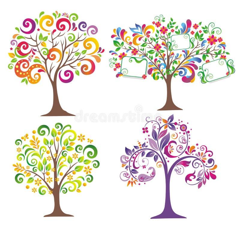 abstrakt färgrik tree vektor illustrationer