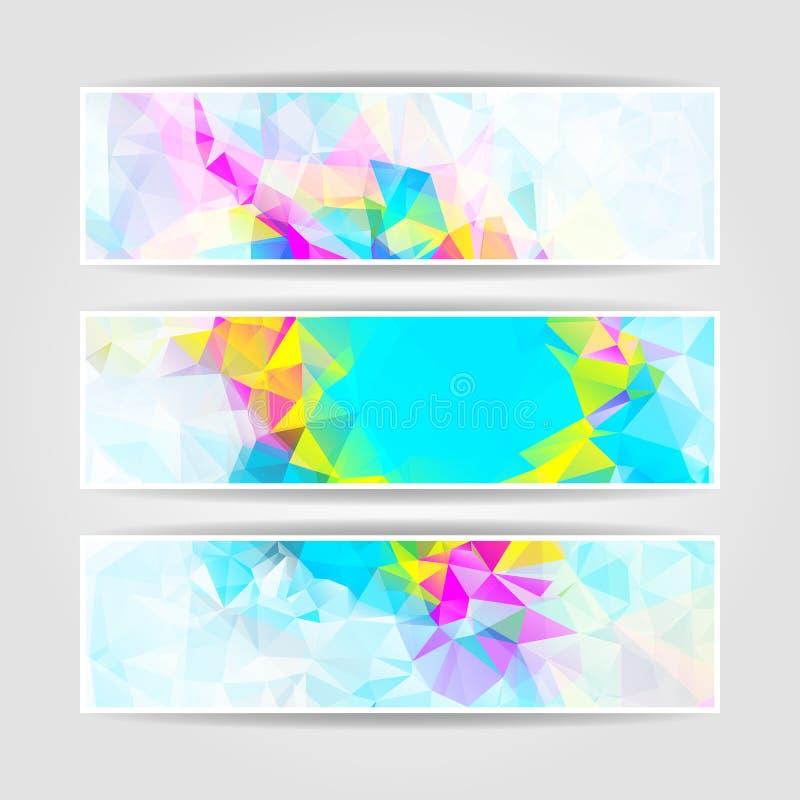 Abstrakt färgrik triangulär titelraduppsättning royaltyfri illustrationer