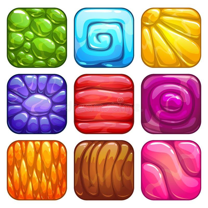 Abstrakt färgrik uppsättning för geléapp-symboler vektor illustrationer