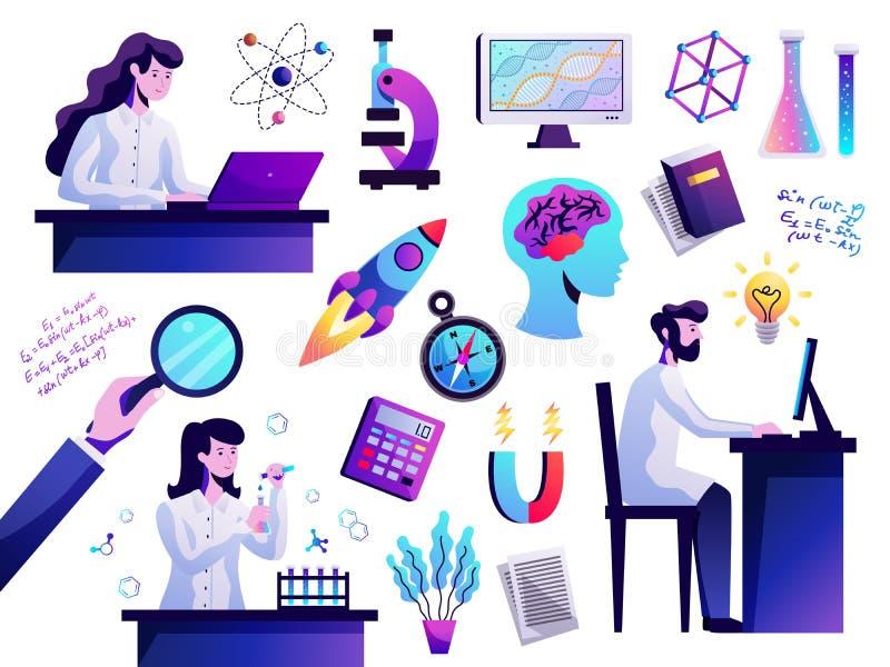Abstrakt färgrik uppsättning för vetenskap royaltyfri illustrationer