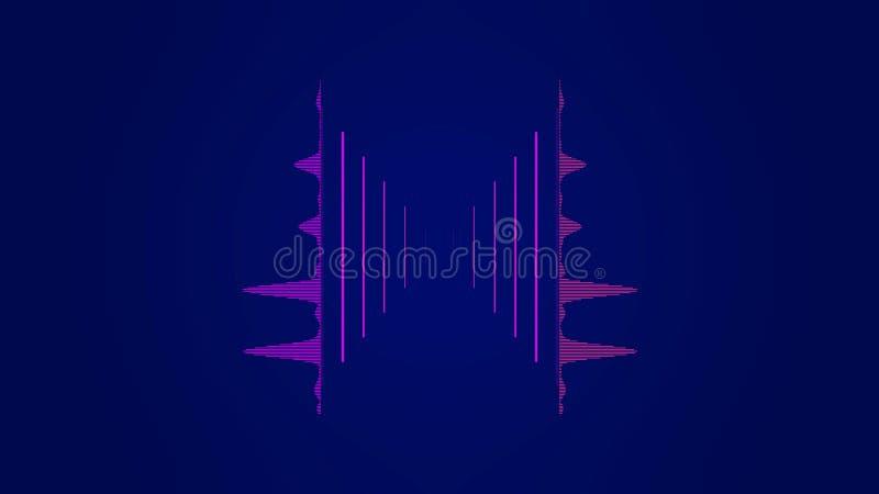 Abstrakt färgrik utjämnare i det ljudsignal spektret för waveform, rosa ljudsignalsignal på mörkt - blå bakgrund, musikconept vektor illustrationer