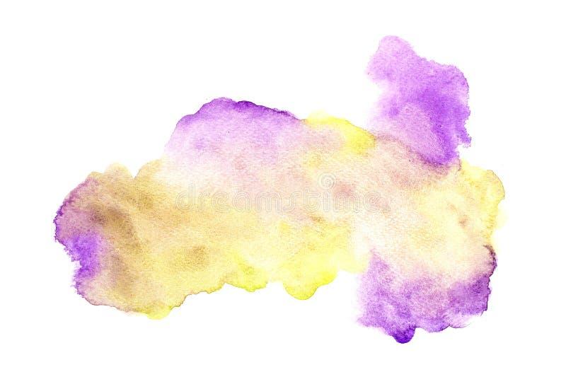 Abstrakt färgrik vattenfärg på vit bakgrund, färgrik vattenfärg som plaskar på papperet, abstrakt målad illustrationdesign stock illustrationer