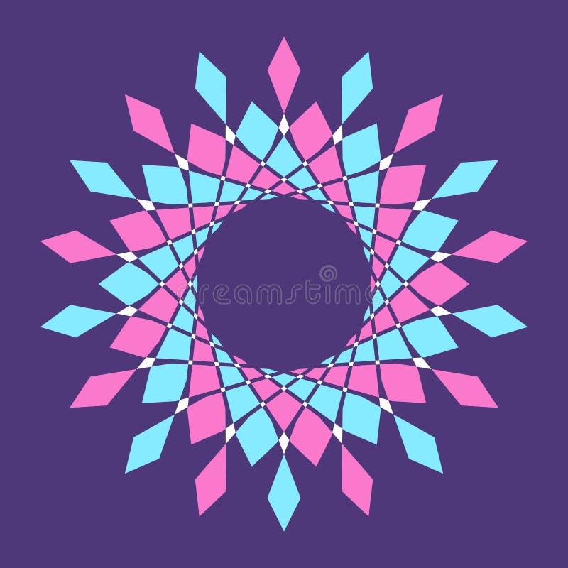 Abstrakt färgrik vektorcirkelram Rastrerad prick Rund logo Teknologicirkelemblem vektor illustrationer